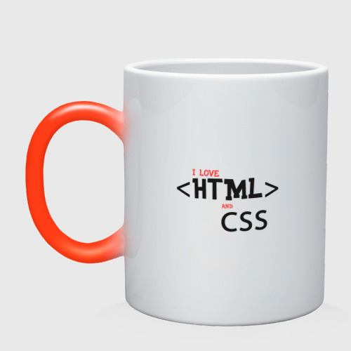 Кружка хамелеон I love html and css