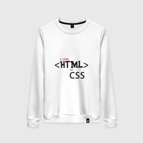Женский свитшот хлопок I love html and css