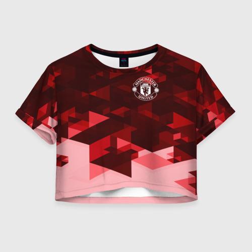 Женская футболка Crop-top 3D Манчестер Юнайтед