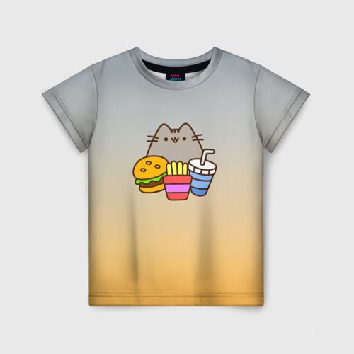 Детская футболка 3D Pusheen Фастфуд