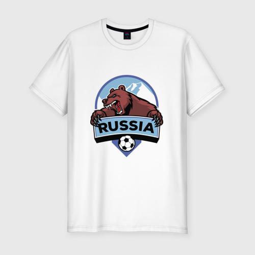 Мужская футболка хлопок Slim Россия Медведь