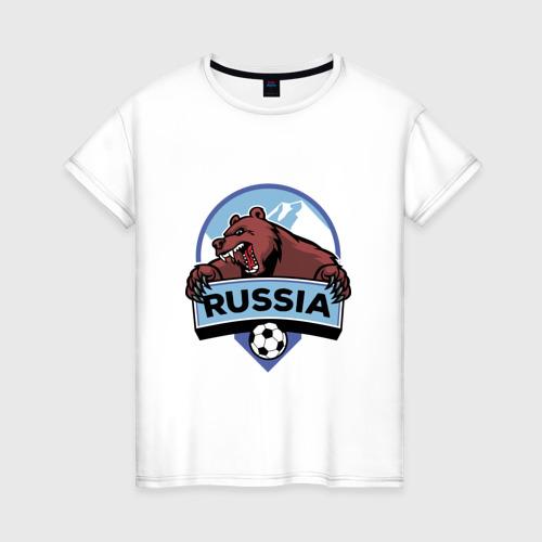 Женская футболка хлопок Россия Медведь