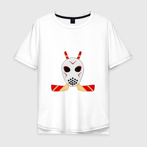 Мужская футболка хлопок Oversize Хоккейная маска с клюшками