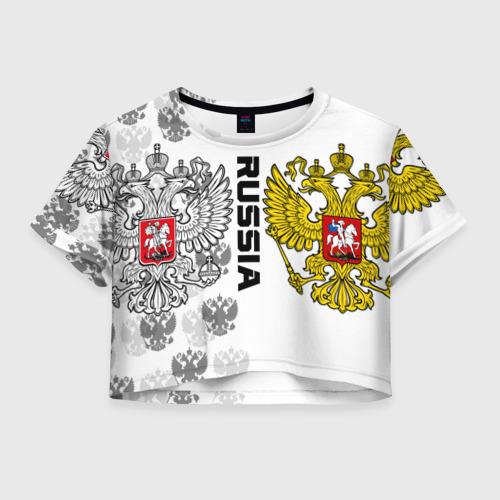 Женская футболка Crop-top 3D Russia