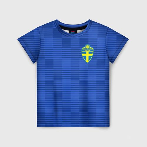 Детская футболка 3D Швеция гостевая форма ЧМ 2018