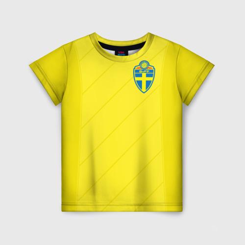 Детская футболка 3D Швеция домашняя форма ЧМ 2018