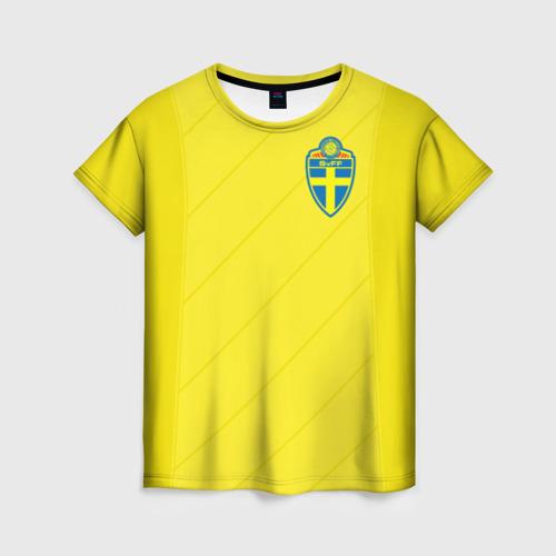 Женская футболка 3D Швеция домашняя форма ЧМ 2018