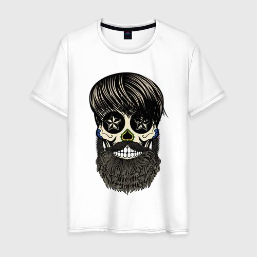 Мужская футболка хлопок Сахарный череп с бородой