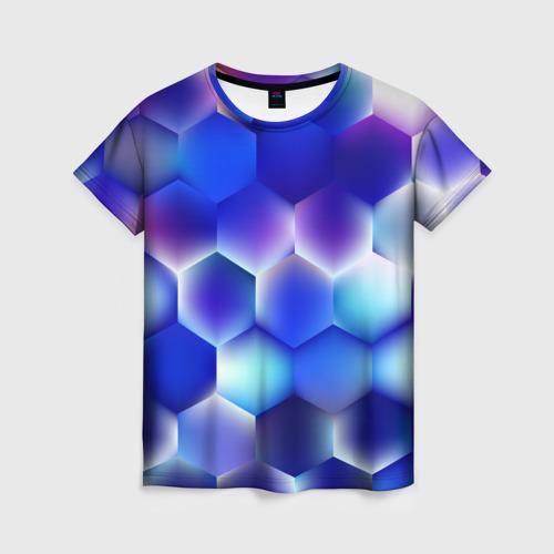 Женская футболка 3D Синяя чешуя змеи