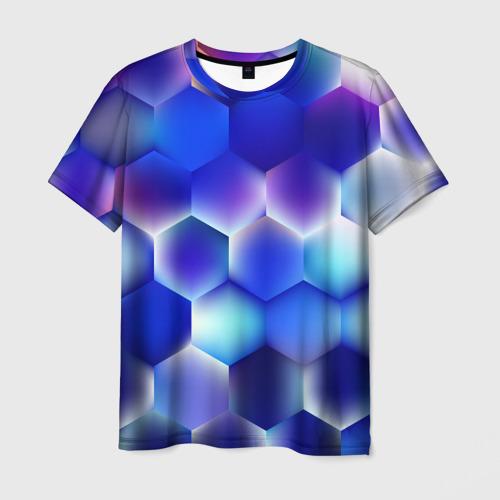Мужская футболка 3D Синяя чешуя змеи