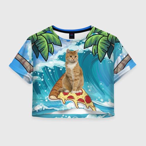 Женская футболка Crop-top 3D Сёрфинг на Пицце