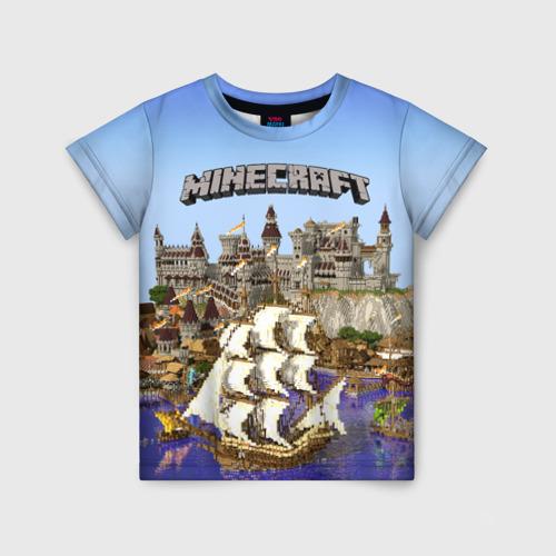 Детская футболка 3D Корабль и замок в манкрафт.