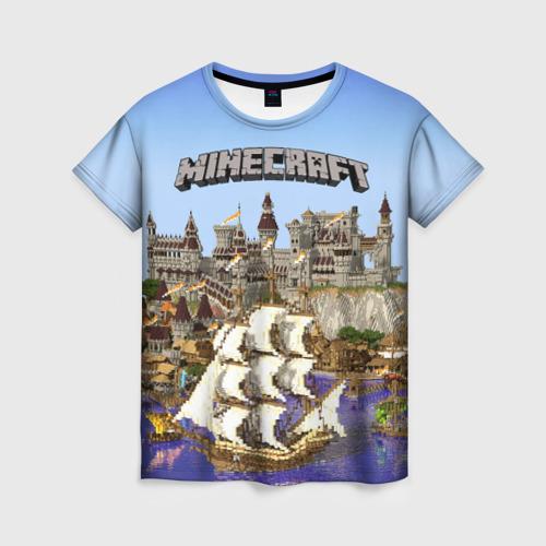 Женская футболка 3D Корабль и замок в манкрафт.
