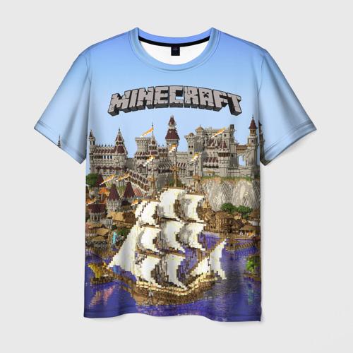 Мужская футболка 3D Корабль и замок в манкрафт.