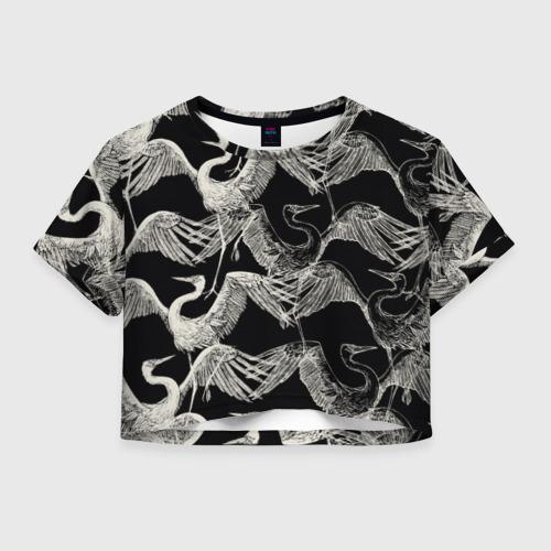 Женская футболка Crop-top 3D Белые Птицы
