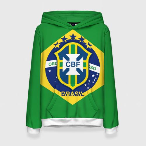 Женская толстовка 3D Сборная Бразилии флаг