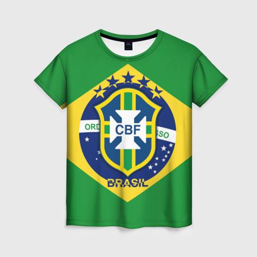 Женская футболка 3D Сборная Бразилии флаг