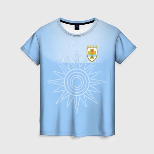 Женская футболка 3D Уругвай домашняя форма
