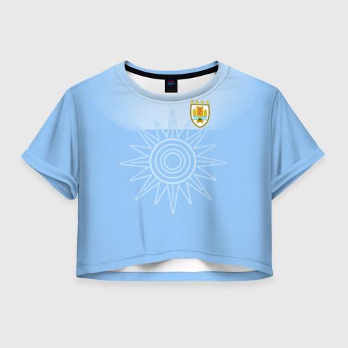 Женская футболка Crop-top 3D Уругвай домашняя форма