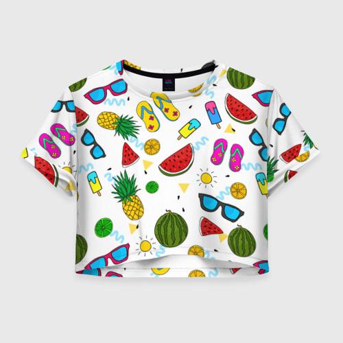 Женская футболка Crop-top 3D Летняя