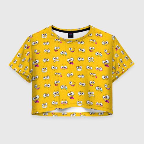 Женская футболка Crop-top 3D Эмоции
