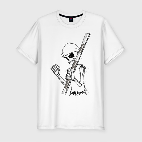 Мужская футболка хлопок Slim Скелетон геодезист 2 (черн.)
