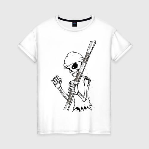 Женская футболка хлопок Скелетон геодезист 2 (черн.)