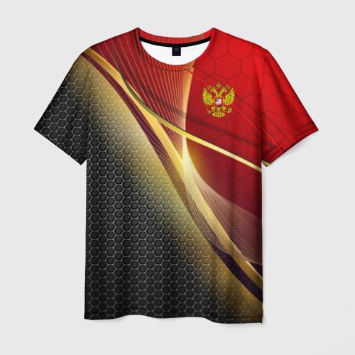 Мужская футболка 3D RUSSIA SPORT: Red and Black.