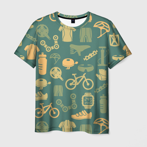 Мужская футболка 3D Велосипед Текстура