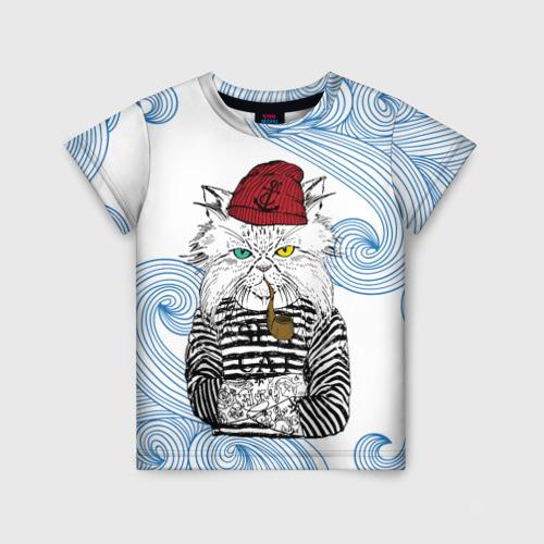 Детская футболка 3D Кот Моряк
