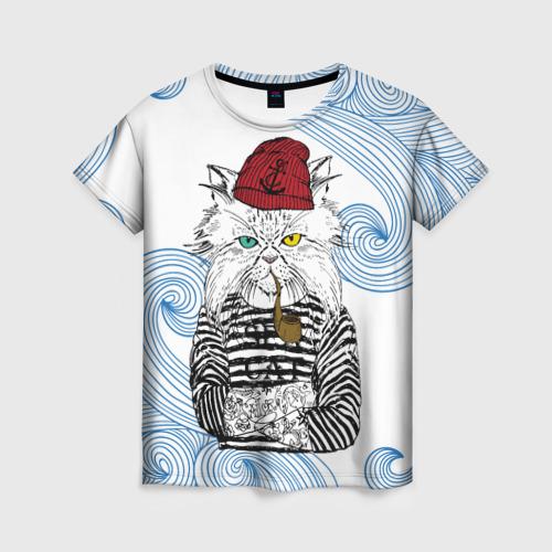Женская футболка 3D Кот Моряк