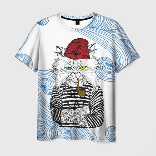 Мужская футболка 3D Кот Моряк