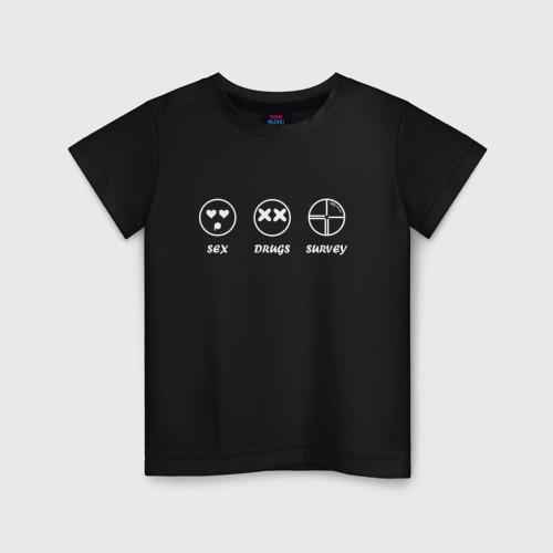 Детская футболка хлопок SEX, DRUGS & SURVEY (бел)