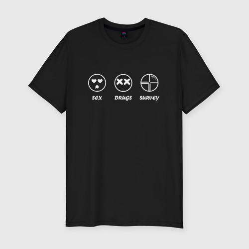 Мужская футболка хлопок Slim SEX, DRUGS & SURVEY (бел)