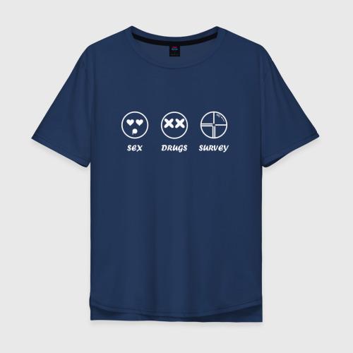 Мужская футболка хлопок Oversize SEX, DRUGS & SURVEY (бел)
