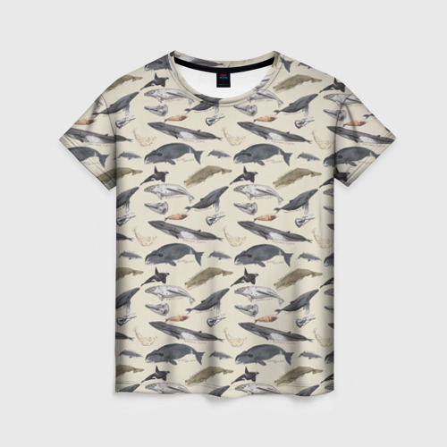 Женская футболка 3D Whales pattern
