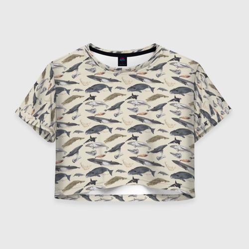 Женская футболка Crop-top 3D Whales pattern