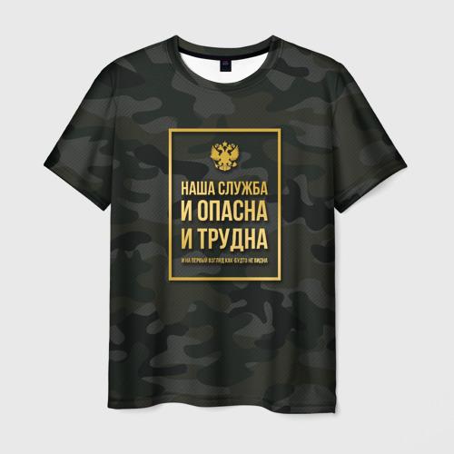 Мужская футболка 3D Трудная служба