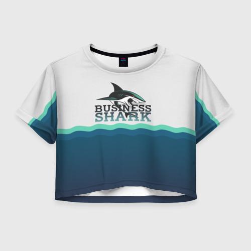 Женская футболка Crop-top 3D Бизнес-акула
