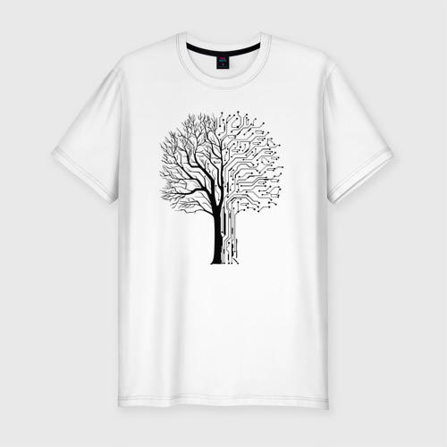 Мужская футболка хлопок Slim Digital tree