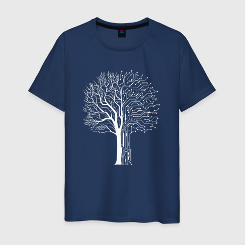 Мужская футболка хлопок Дерево Киберпанк