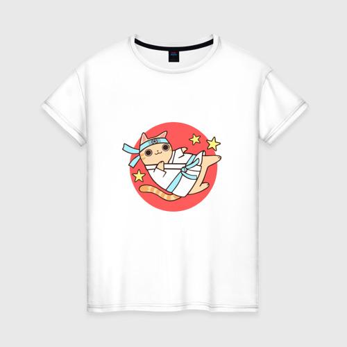 Женская футболка хлопок Карате кот