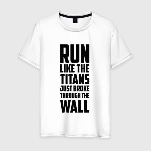 Мужская футболка хлопок БЕГИ КАК ТИТАН