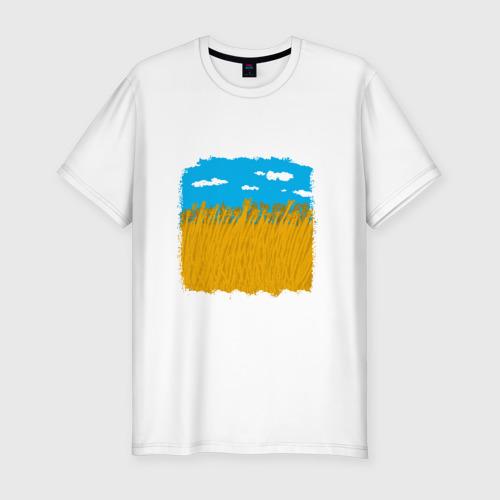 Мужская футболка хлопок Slim Украина в колосьях