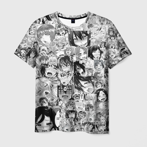 Мужская футболка 3D АХЕГАО ЛИЦА   AHEGAO FACES