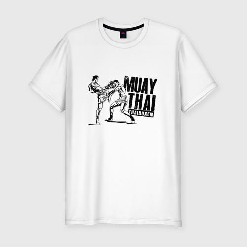 Мужская футболка хлопок Slim Muay Thai. Тайский бокс