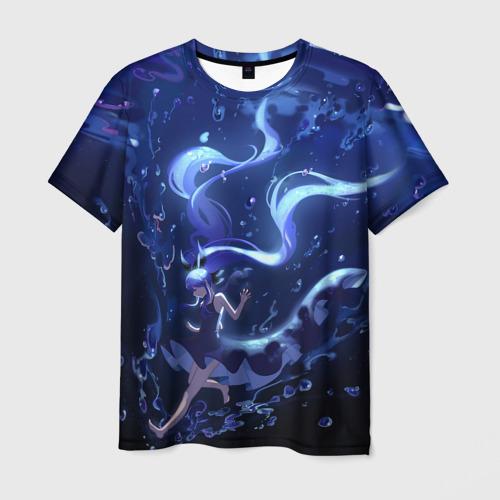 Мужская футболка 3D Вокалоид Мику Аква