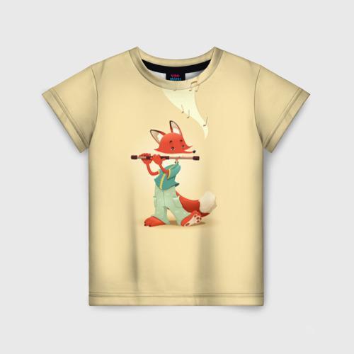 Детская футболка 3D Лисичка с флейтой