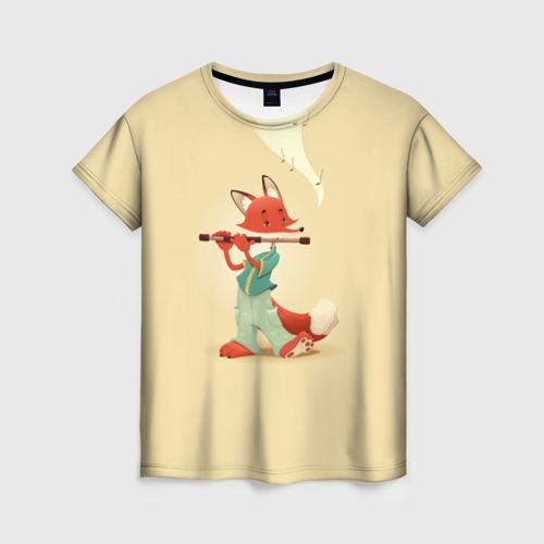 Женская футболка 3D Лисичка с флейтой