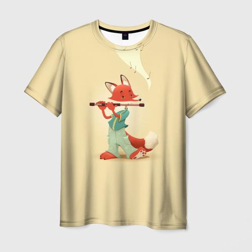 Мужская футболка 3D Лисичка с флейтой